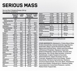 OPTIMUM NUTRITION SERIOUS MASS – STRAWBERRY 6 LBS