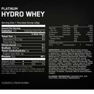 OPTIMUM NUTRITION PLATINUM HYDROWHEY – VELOCITY VANILLA 3.5 LBS