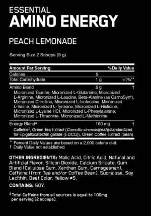 OPTIMUM NUTRITION ESSENTIAL AMINO ENERGY – PEACH LEMONADE