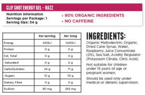 CLIF BAR SHOT ENERGY GEL – RAZZ