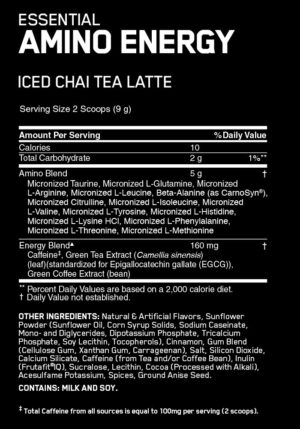 OPTIMUM NUTRITION CAFE SERIES ESSENTIAL AMINO ENERGY – ICED CHAI TEA LATTE